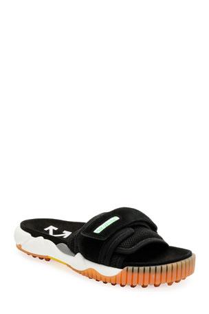 Off-White Men's Arrow Mesh/Suede Slide Sandals