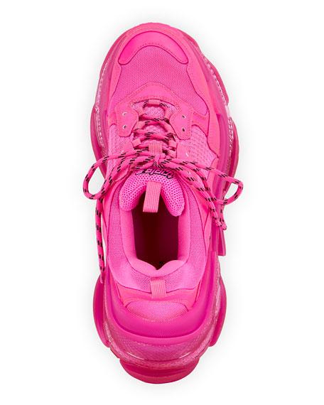 Balenciaga Men's Triple S Neon Clear-Sole Sneakers