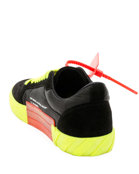 Off-White Men's Arrow Low-Top Vulcanized Fluo Sneakers