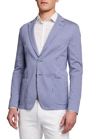Emporio Armani Men's Striped Seersucker Two-Button Jacket