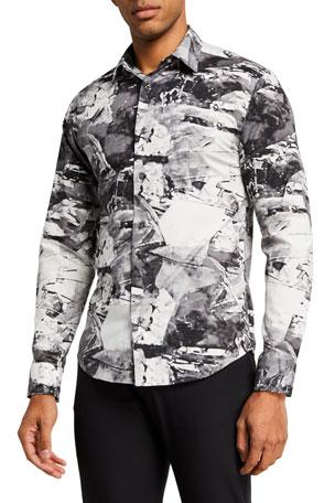 Emporio Armani Men's Abstract-Print Sport Shirt