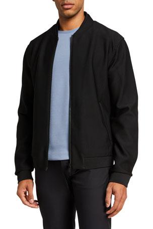 Emporio Armani Men's Solid Textured Mesh Bomber Jacket