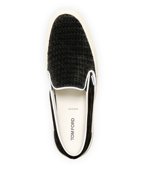 Image 2 of 4: TOM FORD Men's Platform Woven Suede Slip-On Sneakers
