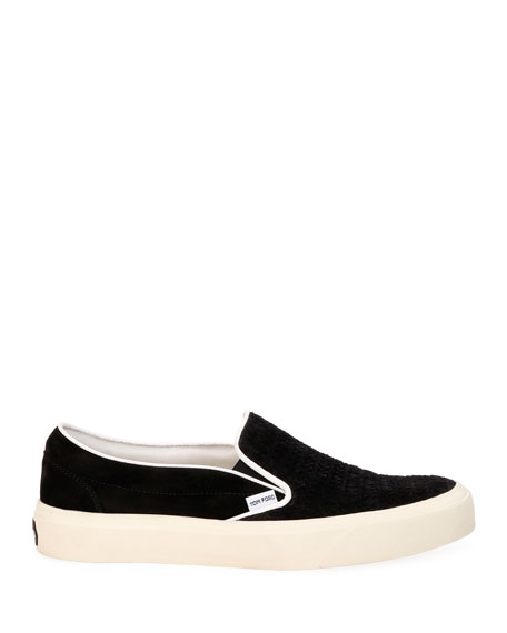 Image 3 of 4: TOM FORD Men's Platform Woven Suede Slip-On Sneakers