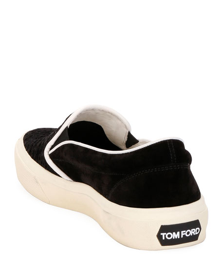Image 4 of 4: TOM FORD Men's Platform Woven Suede Slip-On Sneakers