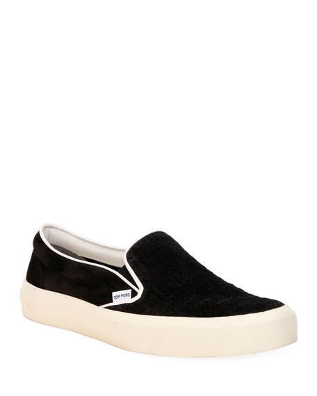 Image 1 of 4: TOM FORD Men's Platform Woven Suede Slip-On Sneakers