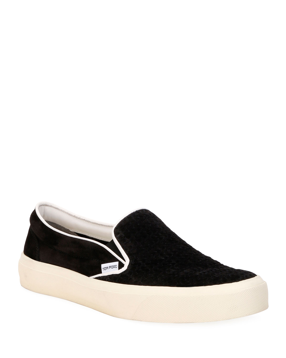 TOM FORD Men's Platform Woven Suede Slip-On Sneakers