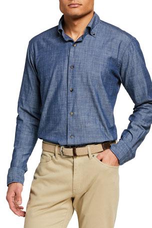 Peter Millar Men's Denim Chambray Button-Collar Sport Shirt