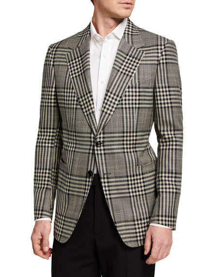 Image 1 of 3: TOM FORD Men's Shelton Check Two-Button Jacket