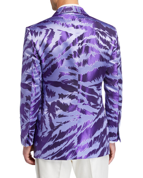 Image 2 of 3: TOM FORD Men's Textured Zebra Jacquard Dinner Jacket
