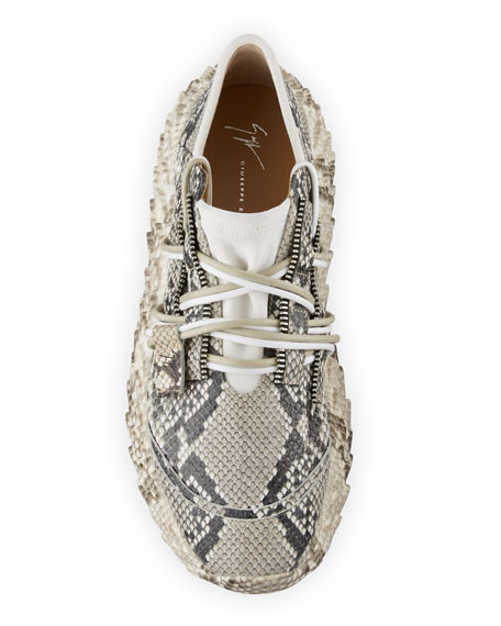Image 2 of 4: Giuseppe Zanotti Men's Snake Urchin Textured Leather Sneakers