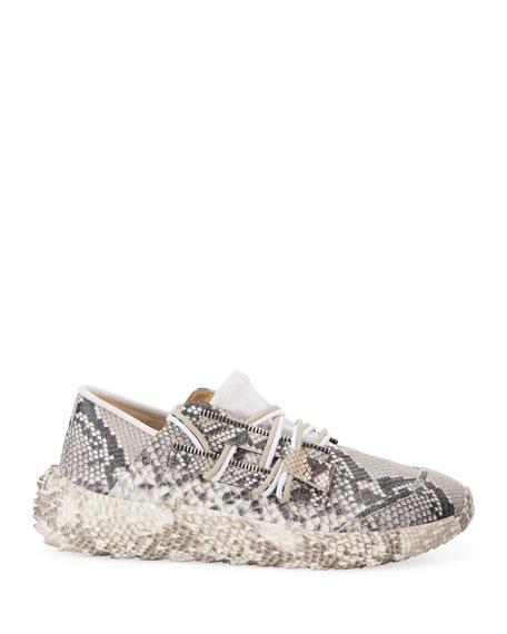 Image 3 of 4: Giuseppe Zanotti Men's Snake Urchin Textured Leather Sneakers