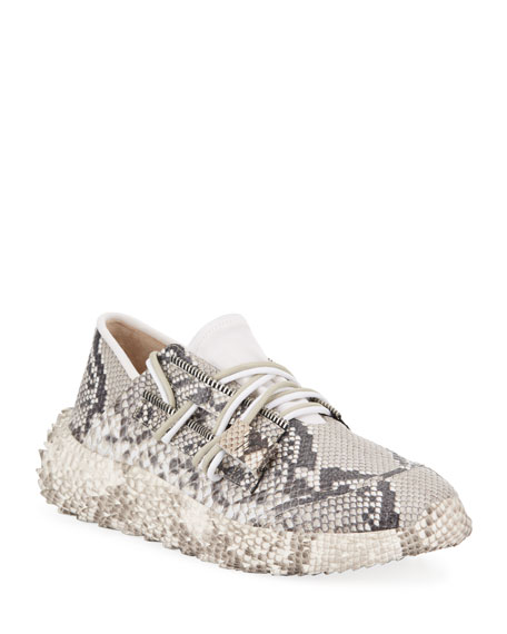 Image 1 of 4: Giuseppe Zanotti Men's Snake Urchin Textured Leather Sneakers