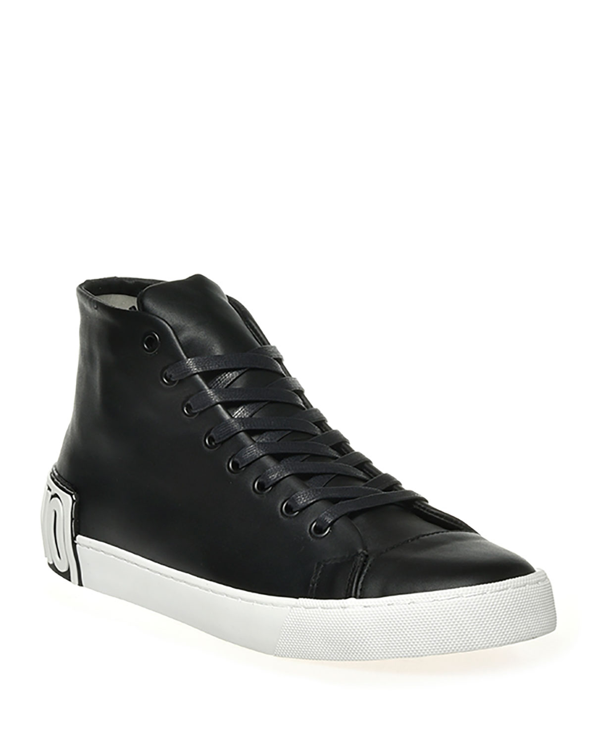 Leather Logo High-Top Sneakers