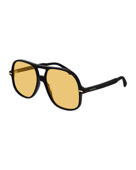 Gucci Men's Solid Acetate Aviator Sunglasses