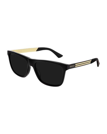 Gucci Men's Square Acetate Logo Sunglasses