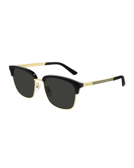 Gucci Men's Half-Rim Acetate/Metal Square Sunglasses