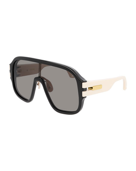 Image 1 of 1: Men's Two-Tone Injection Shield Sunglasses