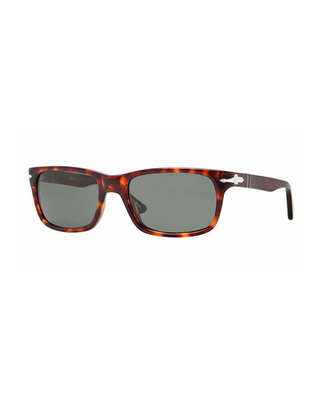Persol Men's Rectangle Havana Acetate Sunglasses
