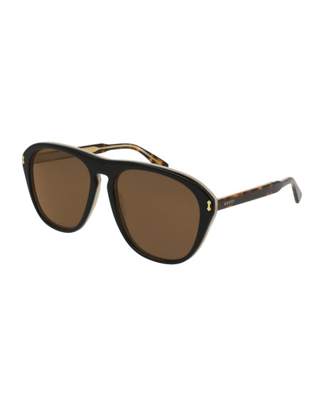 Gucci Men's Two-Tone Tortoiseshell Aviator Sunglasses