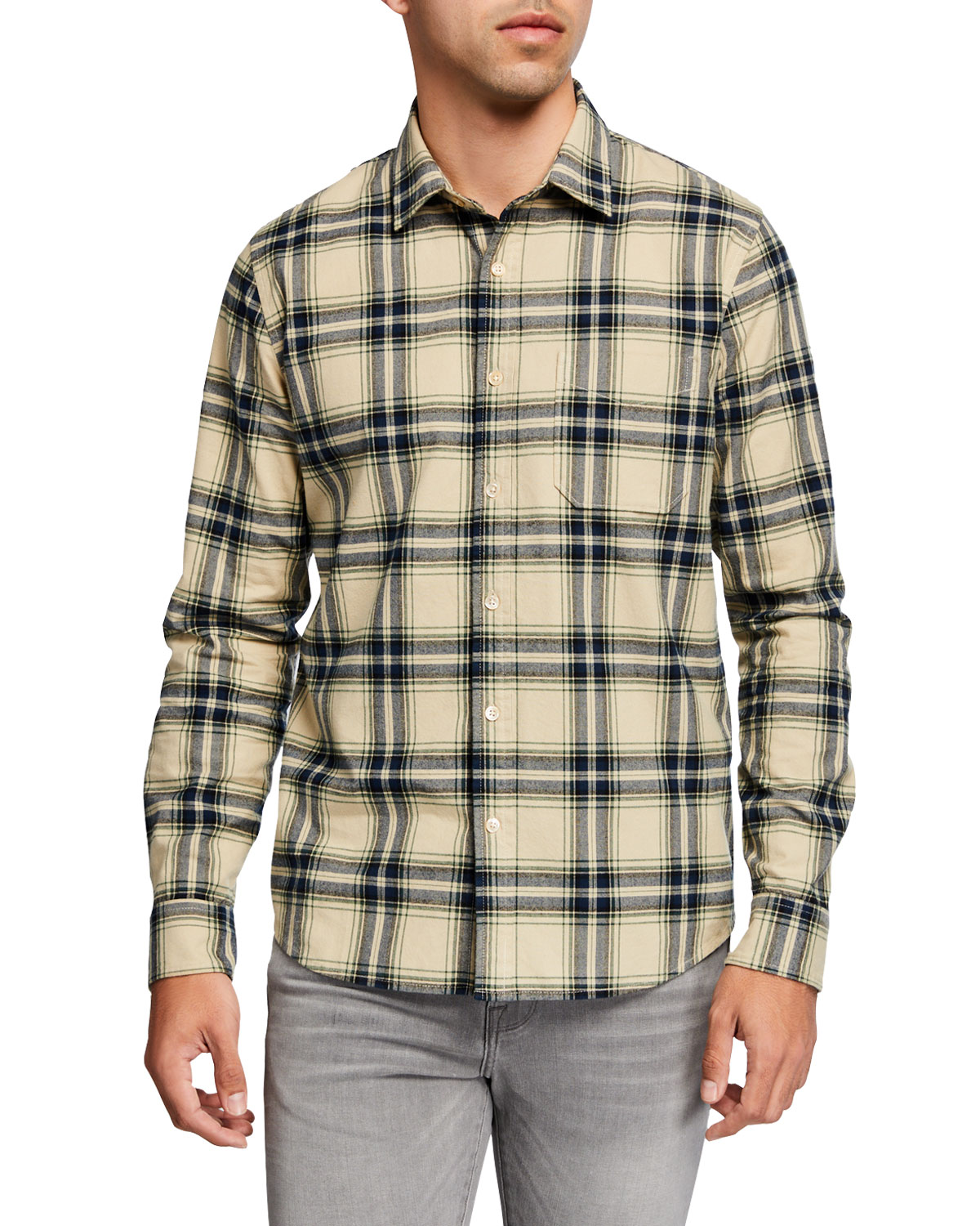 FRAME Men's Brushed-Cotton Plaid Twill Sport Shirt