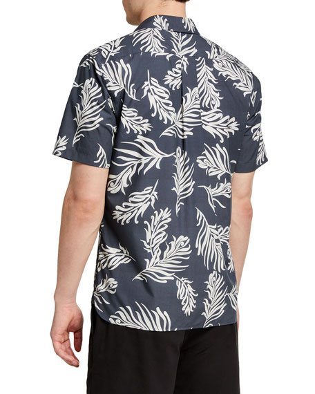 Image 2 of 2: Vince Men's Leaf Print Sport Shirt