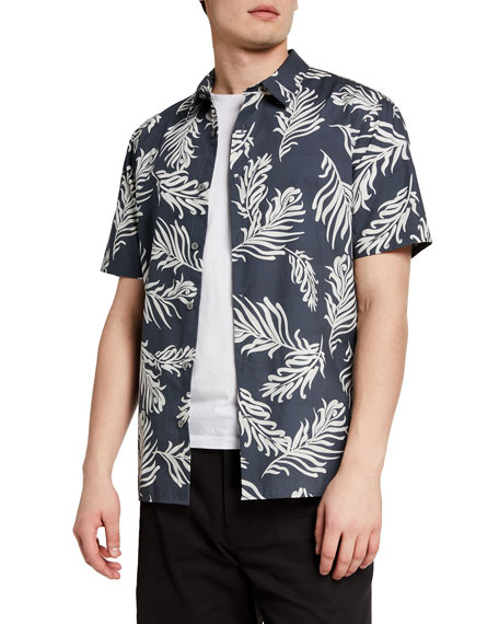 Image 1 of 2: Vince Men's Leaf Print Sport Shirt