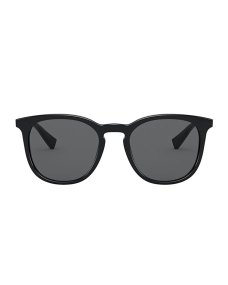 Image 2 of 3: Dolce & Gabbana Men's Round Keyhole Acetate Sunglasses