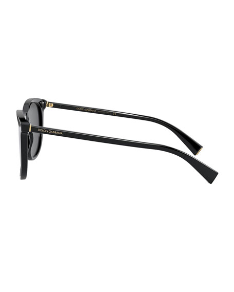 Image 3 of 3: Dolce & Gabbana Men's Round Keyhole Acetate Sunglasses