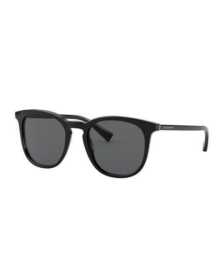 Image 1 of 3: Dolce & Gabbana Men's Round Keyhole Acetate Sunglasses