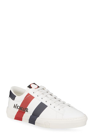 Moncler Men's Signature Stripe Leather Low-Top Sneakers