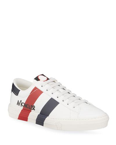 Men's Signature Stripe Leather Low-Top Sneakers