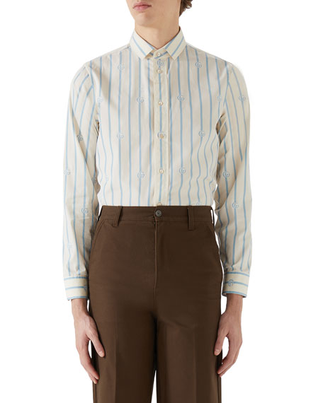 Image 1 of 2: Gucci Men's Interlocking G Large Stripe Sport Shirt