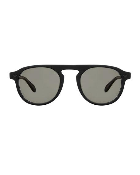 Garrett Leight Men's Harding 47 Matte Round Keyhole Sunglasses