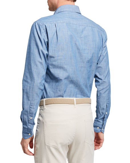 Image 2 of 2: Peter Millar Men's Collection Denim Chambray Sport Shirt