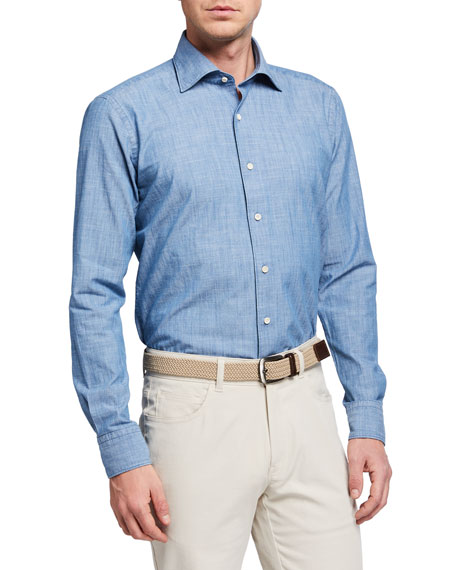 Image 1 of 2: Peter Millar Men's Collection Denim Chambray Sport Shirt