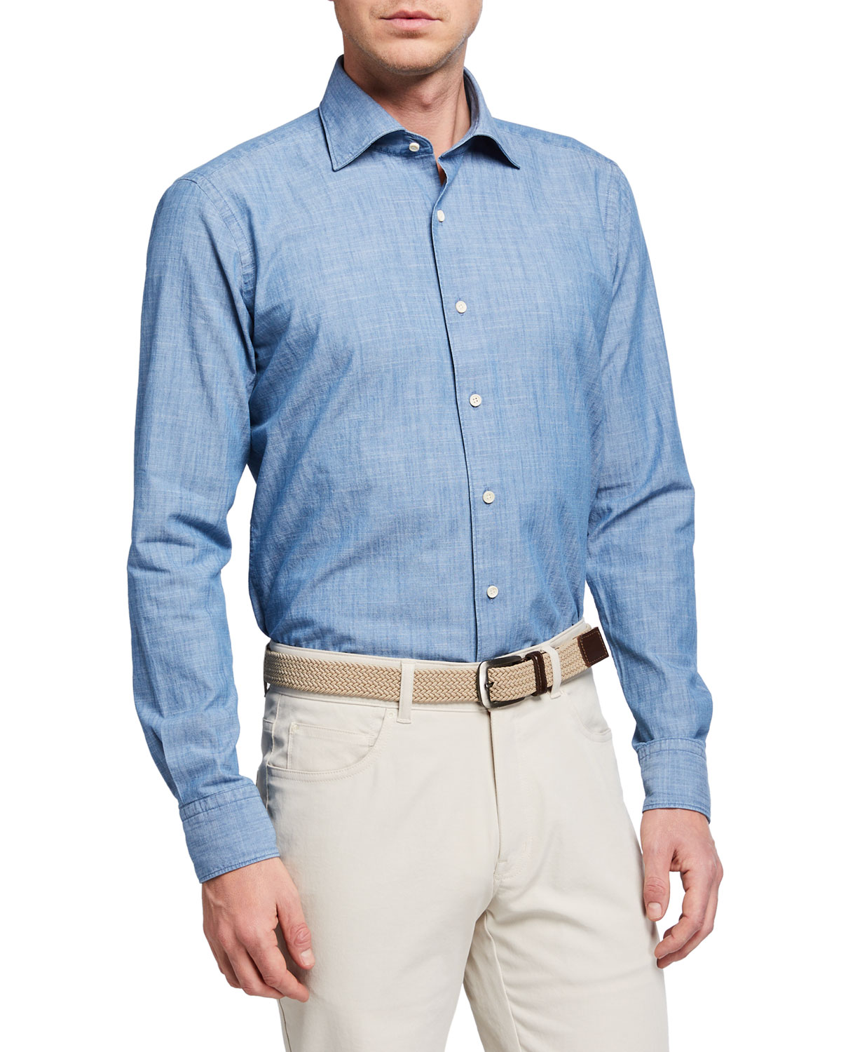Peter Millar Men's Collection Denim Chambray Sport Shirt
