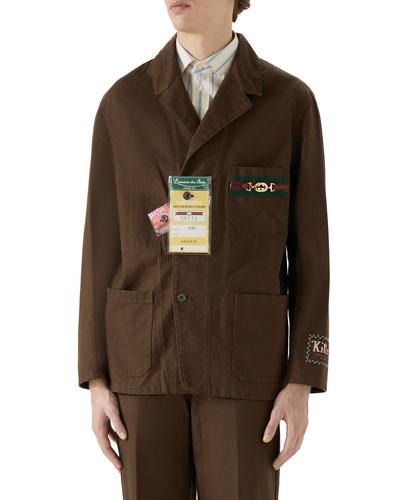 Men's Cotton Jacket with Horsebit & Tags