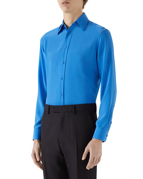 Image 1 of 2: Gucci Men's Silk Crepe Sport Shirt