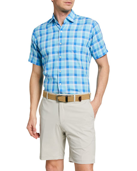 Image 1 of 2: Peter Millar Men's La Roche Plaid Sport Shirt