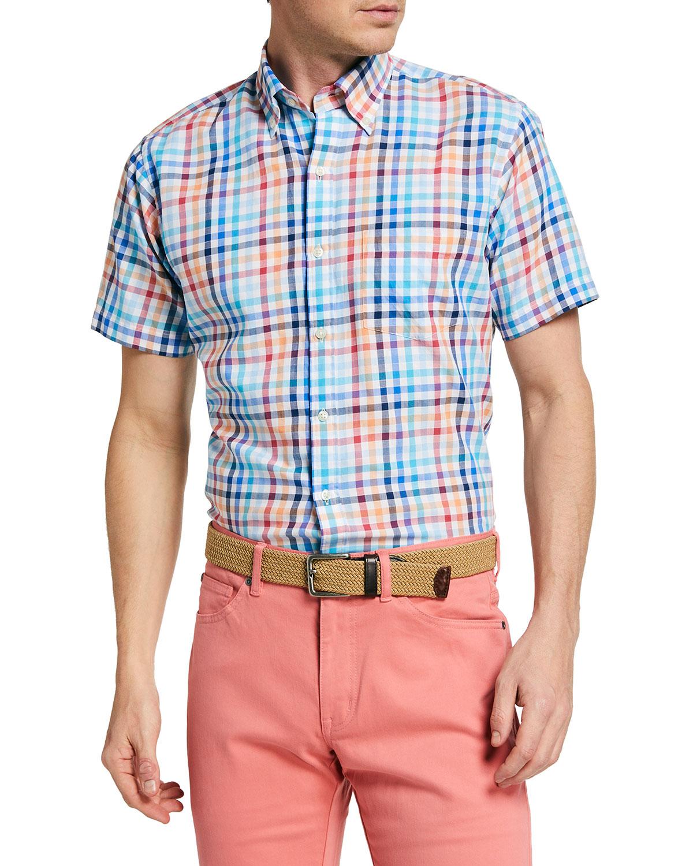 Peter Millar Men's Galleon Multicolor Check Sport Shirt