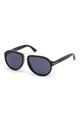 TOM FORD Men's Geoffrey Acetate/Metal Aviator Sunglasses