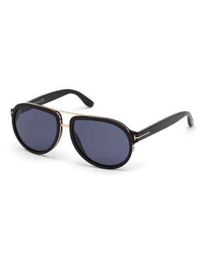 Men's Geoffrey Acetate/Metal Aviator Sunglasses