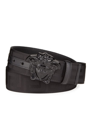 Versace Men's Tonal Medusa/Greek Key Web Belt