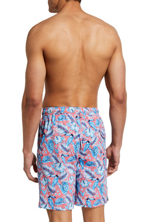 Heart and Rose in White Mens Swim Trunks Board Shorts