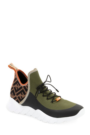 Fendi Men's Mid-Top Sock Sneakers