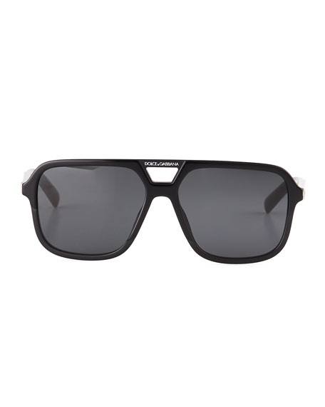 Dolce & Gabbana Men's Square Acetate Double-Bridge Sunglasses