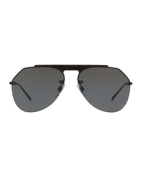 Dolce & Gabbana Men's Rimless Keyhole Brow Bar Aviator Sunglasses