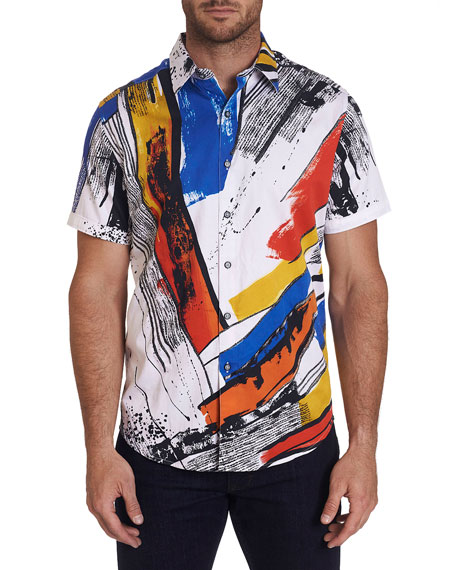 Image 1 of 4: Robert Graham Men's Monaco Patterned Short-Sleeve Sport Shirt