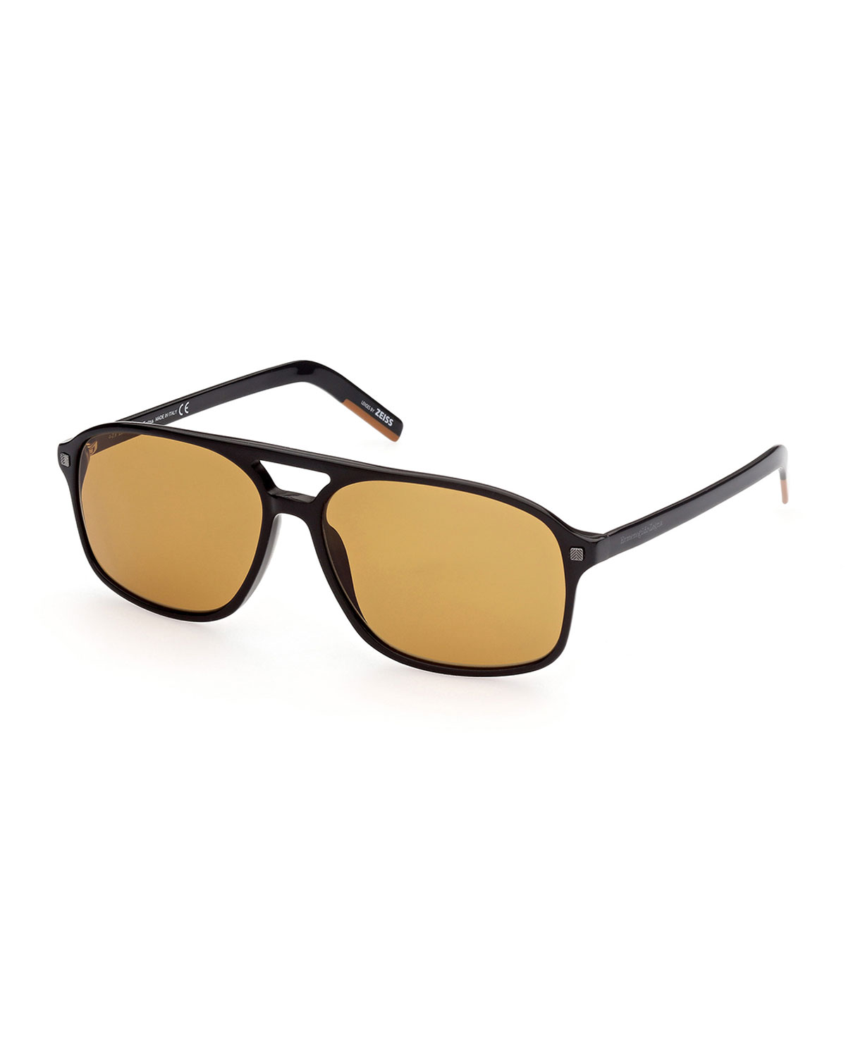 Ermenegildo Zegna Men's Solid Double-Bridge Aviator Sunglasses